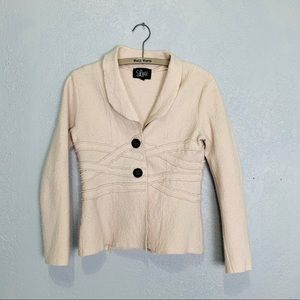 Luii oatmeal colored nubby lightweight wool jacket